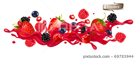 Red berry juice splash wave. Whole and sliced strawberry, raspberry, cherry, blueberry and blackberry in a sweet syrup wave with splashes and drops isolated on transparent background. 3D. Vector. 69783944
