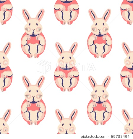Seamless pattern with cute rabbits and bunnies. 69785494