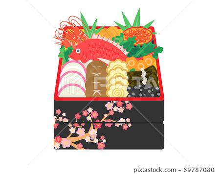 華麗的新年菜餚的插圖 69787080