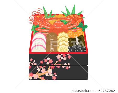 華麗的新年菜餚的插圖 69787082