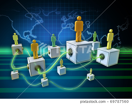 People network over a world map background 69787560