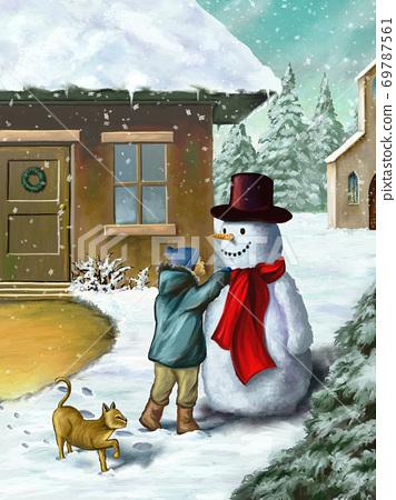 Children and snowman 69787561