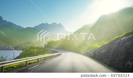 road and mist, Lofoten islands, Norway 69788324