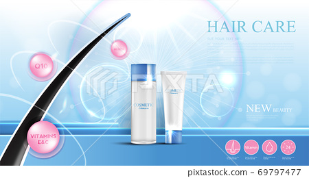 Hair care products, prevent split ends serum shampoo, cosmetics concept, vector illustration. 69797477