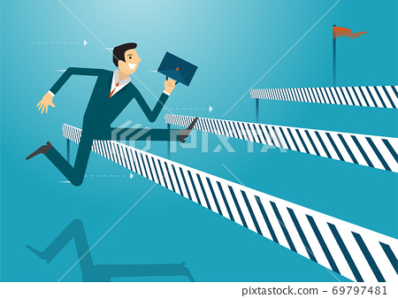 Business illustration concept of businessman jumping over obstacles like hurdle race. business concept illustration. 69797481