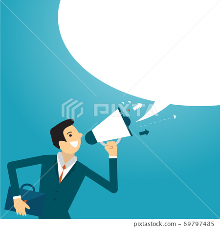 Business illustration concept of businessman advertising. business concept illustration. 69797485