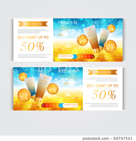 Gift voucher hydrating facial cream for annual sale or festival sale. silver and gold cream mask bottle isolated on glitter particles background. Banner graceful cosmetic ads, illustration. 69797501