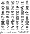 TRAVEL & CAMPING ICON SET. Editable stroke. Pixel Perfect. 69797582