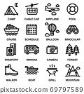 TRAVEL & CAMPING ICON SET. Editable stroke. Pixel Perfect. 69797589