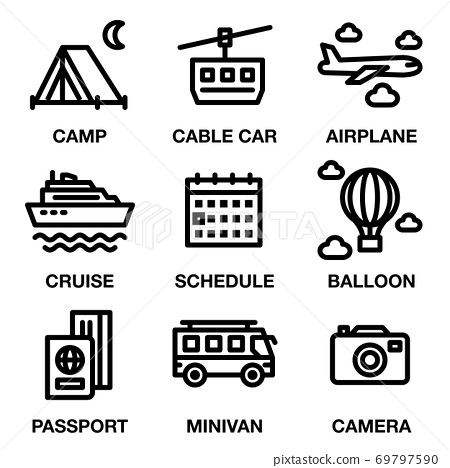 TRAVEL & CAMPING ICON SET. Editable stroke. Pixel Perfect. 69797590