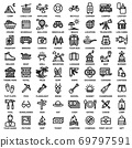 TRAVEL & CAMPING ICON SET. Editable stroke. Pixel Perfect. 69797591
