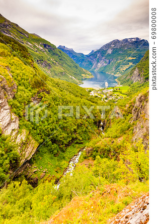 Fjord Geirangerfjord with ferry boat, Norway. 69800008