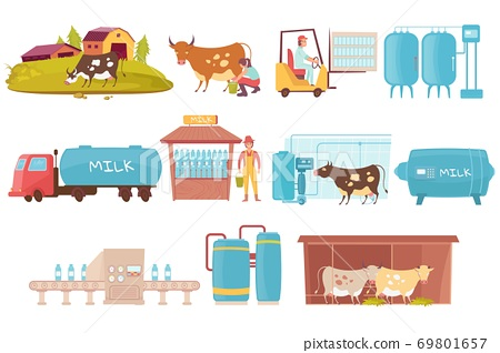 Dairy Production Icons Collection 69801657