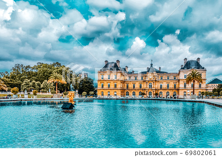 Luxembourg Palace and park in Paris, the Jardin du Luxembourg, one of the most beautiful gardens in Paris. France. 69802061