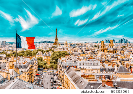 Beautiful panoramic view of Paris from the roof of the Pantheon. View of the Eiffel Tower and flag of France. 69802062