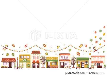 生動的秋葉的城市景觀 69802205
