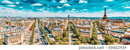 Beautiful panoramic view of Paris from the roof of the Triumphal Arch. Champs Elysees and the Eiffel Tower. 69802484