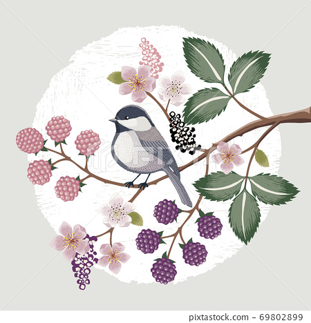 Vector illustration with a cute bird on a floral branch in spring for Wedding, anniversary, birthday and party. Design for banner, poster, card, invitation and scrapbook  69802899