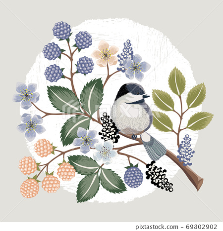 Vector illustration with a cute bird on a floral branch in spring for Wedding, anniversary, birthday and party. Design for banner, poster, card, invitation and scrapbook  69802902