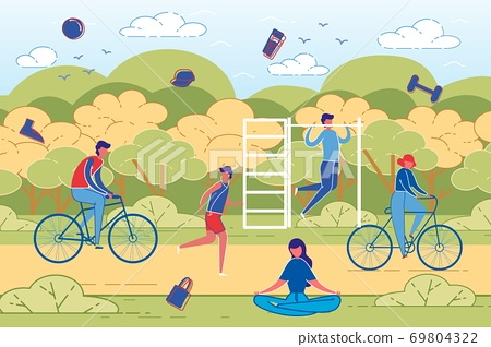 People Outdoor Activity and Sport Workout Vector. 69804322