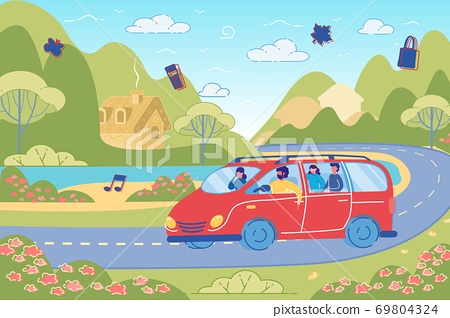 Friends Having Fun in Car Driving on Country Road. 69804324