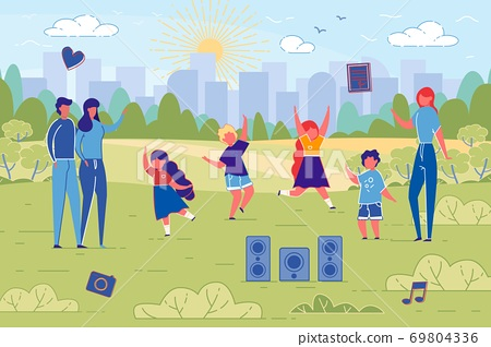 Flat Banner Dance Classes for Children in Nature. 69804336