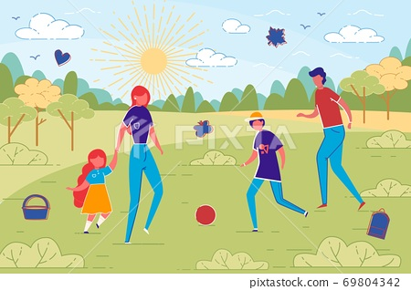 Family PLaying Together during Walk in City Park. 69804342