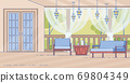Cottage House Comfortable Outdoor Terrace Vector 69804349