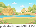 Nature Landscape with Fairy Tale Gingerbread House 69804351