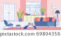 House Living Room Cozy Interior Design Flat Vector 69804356