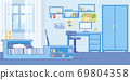 Teenage Boy Bedroom Cozy Interior Flat Vector 69804358