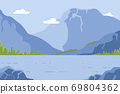 Mountain Landscape with Pond, Summer Time Nature 69804362
