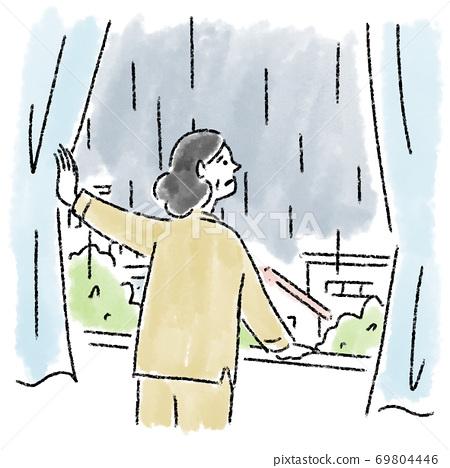 雨女人中年窗口水彩手繪 69804446