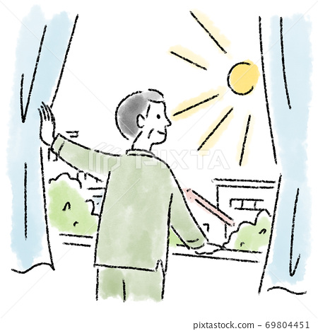 창문 맑은 남성 중년 수채화 그린 69804451