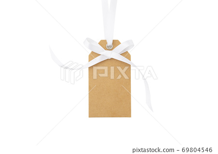 Gift tag with white bow isolated on white 69804546