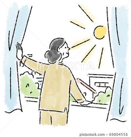 窗口晴天女人中年水彩畫手繪 69804558