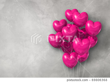 Pink heart shape air balloons group on a concrete wall banner 69806368