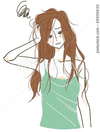 一個蓬頭垢面,情緒低落的女人 69806630