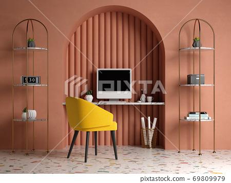 Memphis style conceptual interior Home office 3 d illustration 69809979