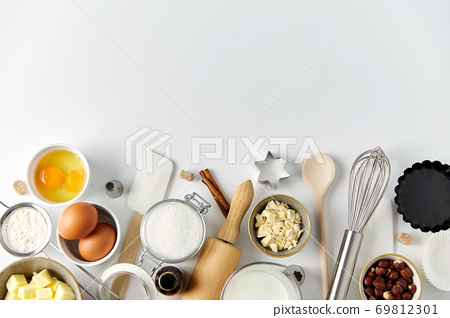 cooking ingredients and kitchen tools for baking 69812301