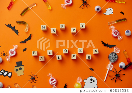 trick or treat letters and halloween sweets 69812558