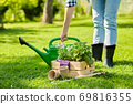 woman with garden tools in wooden box at summer 69816355