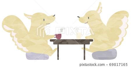 一隻松鼠煮茶(水彩風格)的插圖 69817165