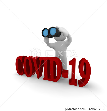 Small character with binoculars and the word COVID-19 69820705