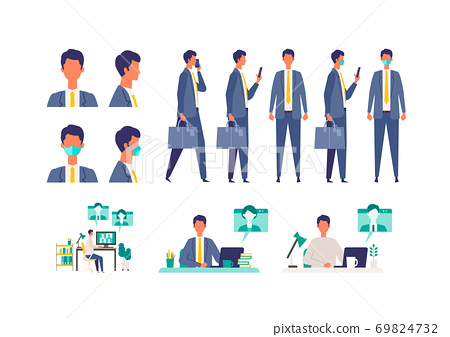 Collection of poses of businessmen in Corona 69824732