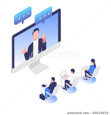 온라인 웹 세미나를 수강하고있는 사람들의 이미지 일러스트 소재 69824959