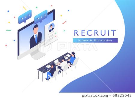 온라인으로 인재 채용 면접을하고있는 일러스트 소재 69825045