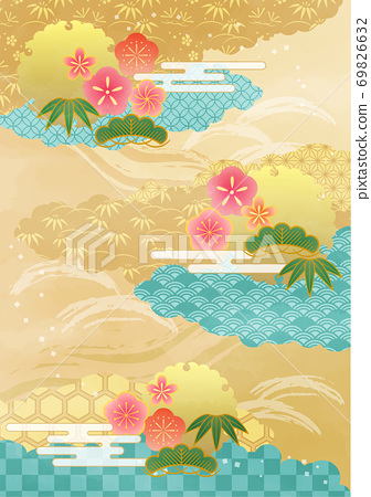新年日本图案的云 69826632