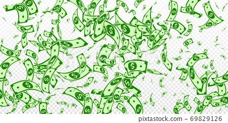 American dollar notes falling. Random USD bills on 69829126
