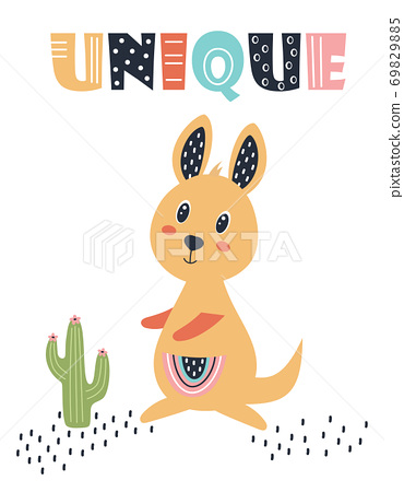 card with cute kangaroo isolated on white 69829885